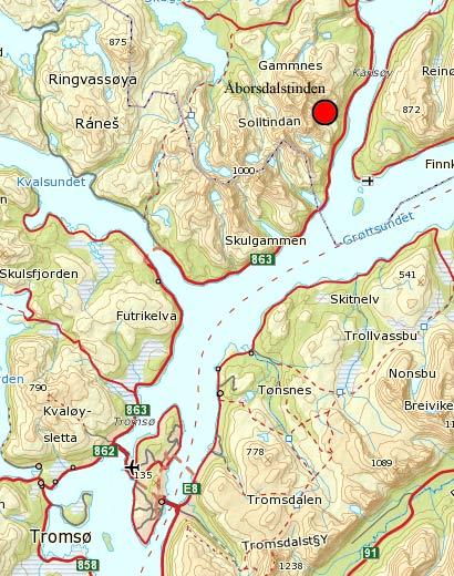 kart ringvassøy Åborsdalstinden   885 moh kart ringvassøy