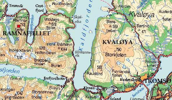 kart over kvaløya Kristen Ryeng   Turbeskrivelse   Ramnafjellet kart over kvaløya